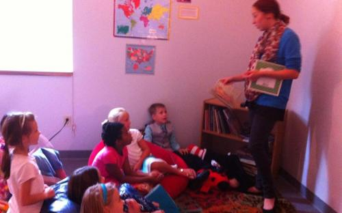 Miss Rose explaining her ministry in Albania to elementary students.
